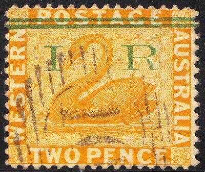 1882 Western Australia IR in Green on 2d Yellow Perf 14 Crown CA USED stamp.