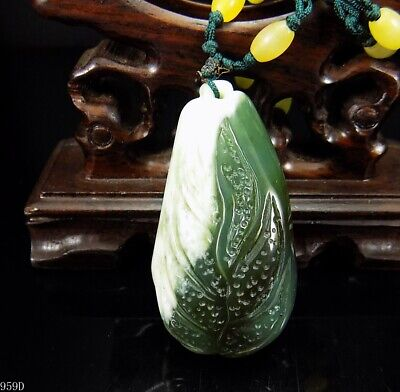 100% Natural Hand-carved Chinese Jade Pendant jadeite Necklace cabbage 959d