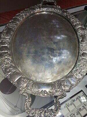 Sterling Silver 800 European  Repousse Serving Tray 52 Oz 24 Inch