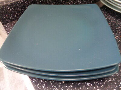 Marks And Spencer Andante Square Dinner Plates X 3 - Dark  Green