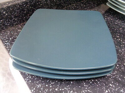 Marks And Spencer Andante Square Salad Plates X 3 - Dark  Green