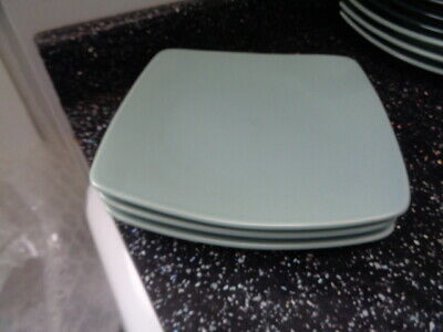 Marks And Spencer Andante Square Salad Plates X 3 - Light Green