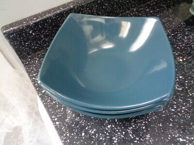 Marks And Spencer Andante Square Cereal Bowls X 3 - Dark Green