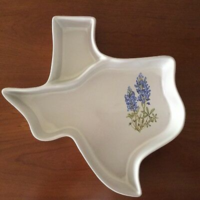 Frankoma Pottery // Texas Divided Serving Dish // Bluebonnets Accent