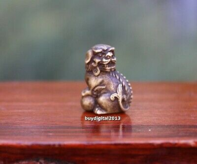 3 CM Pure Bronze Chinese Foo Dog Lion Beast Animal Play Ball Amulet Sculpture