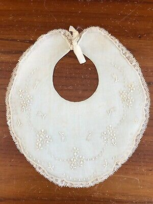 VINTAGE Baby Bib Pale Blue Heirloom Baby Accessory Embroidered Bib