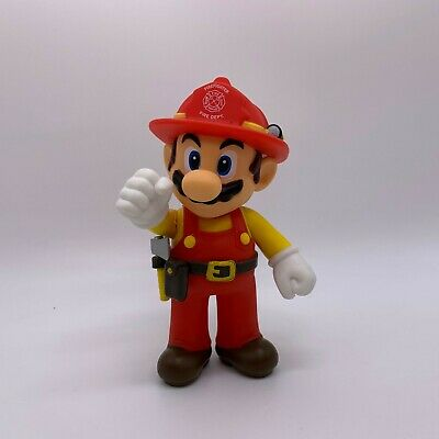 Super Mario Odyssey Firefighter Mario Plastic Figure Mario Maker Toy Doll 5""