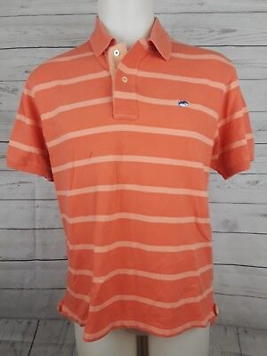 "872a6c506 SOUTHERN TIDE Mens Polo Shirt Size Medium ""THE SKIPJACK"" Short Sleeve Orange"