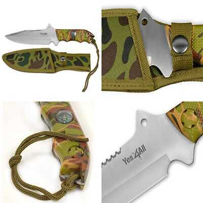 MH H151 Tactical Hunting Survival Fixed Blade Knife +Nylon Sheath W/Intergrated
