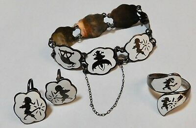 Vintage Siam Sterling Silver White Enamel Bracelet Earrings Jewelry Set