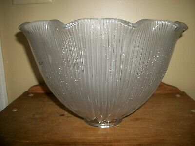 """Vintage Antique Holophane E250 Frosted Prismatic Glass 11 3/4"""" Light Lamp Shade"""