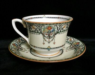 ROYAL WORCESTER CHANTILLY Raised Enameled Demitasse Cup and Saucer ~ Excellent