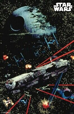 STAR WARS - SPACE BATTLE - CLASSIC MOVIE POSTER - 22x34 - DEATH STAR 17597