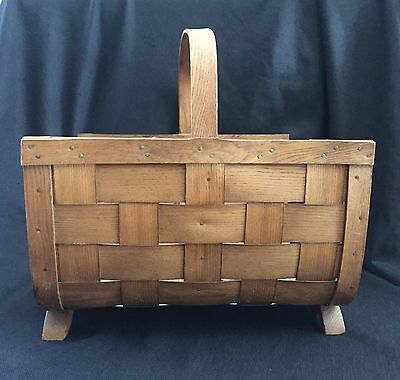 Large Antique Primitive Basketville Oak Bent Wood /Market / Gathering Basket