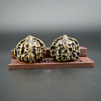 Chinese old collection handwork copper A pair of Walnut statues