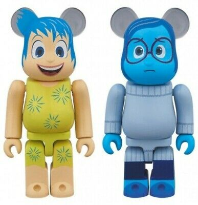BE@RBRICK 100% Disney/Pixar x Medicom Inside Head: Joy & Sadness 2 Pack Set