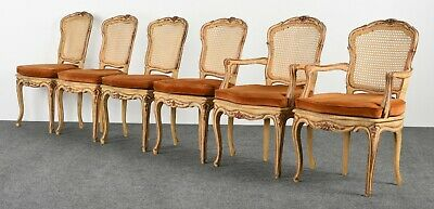 Set of 6 Louis XV French Italian Style Dining Chairs, 1950s