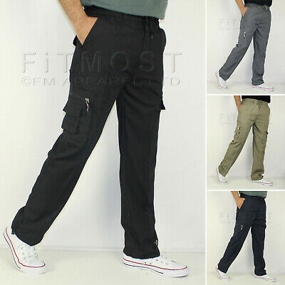 Mens Elasticated Cargo Trousers Combat Cotton lightweight Trousers Pants Bottoms