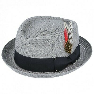 Mens Ladies Mustard Packable Straw Summer Trilby  Hat With Band and  Feather New