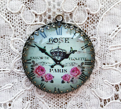 BLUE w/PINK ROSES CLOCK ~ XL ROUND 35mm PENDANT Filigree ~ SHABBY PARIS
