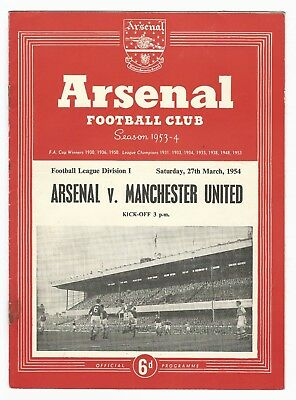 FOOTBALL PROGRAMME - ARSENAL vs MANCHESTER UNITED - MARCH 1954  (OS01)