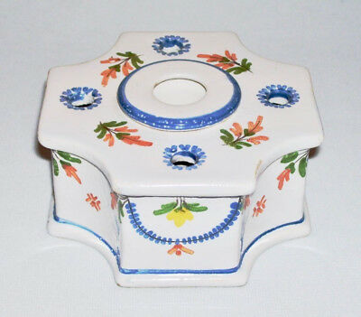 Beautiful French Faience Ceramic Single Pot INKWELL w/4 Quill Holes ~ France