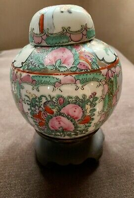 GORGEOUS Chinese Porcelain Ceramic Covered  Ginger Jar & Lid Chinese Floral Urn