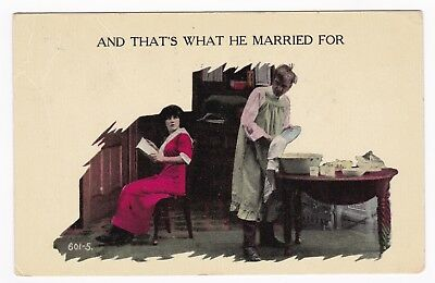 Postcard Humorous Man and Woman Reason for Marriage A1