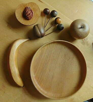Hand Crafted Turned Wood Fruit Dish With Hand Turned Wooden Fruit
