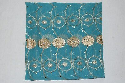 Vintage Indian Floral Dgn Dupatta Long Scarf Hand Golden Beaded Fabric Veil