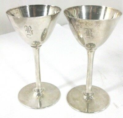 Meriden 311 S.P. Co. Antique Set of 2 Silverplate Wine Chalice Glass Goblet Cup