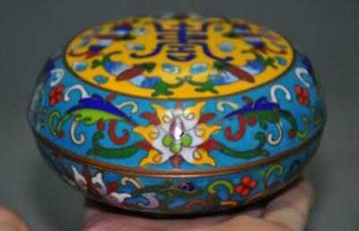 """4"""" Rare old Chinese copper Cloisonne wealth bat Flowers Storage Jewelry box case"""