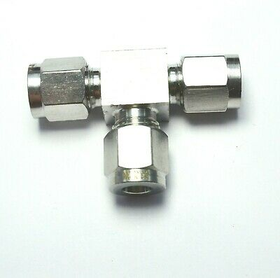 """1/4"""" OD Tube Steel Stainless Twin Ferrule Tee Union Fitting Air Gas Water"""