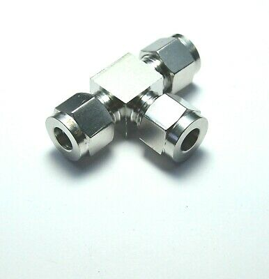 """5/16"""" OD Tube Steel Stainless Twin Ferrule Tee Union Fitting Air Gas Water"""