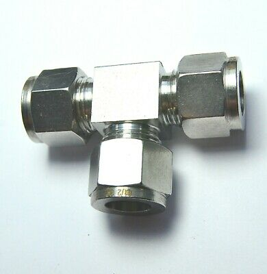 """1/2"""" OD Tube Steel Stainless Twin Ferrule Tee Union Fitting Air Gas Water"""