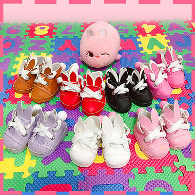 KPOP Shinee NCT BTS EXO Doll's Shoes Accessory Cute Rabbit Little Leather Shoes