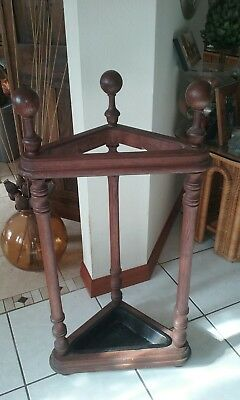 Antique Vintage Turned Wood Spindle Umbrella Cane Stand Wrought Iron Insert