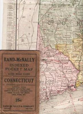 RAND-McNALLY INDEXED POCKET MAP AND AUTO ROAD GUIDE--CONNECTICUT Shippers' Guide