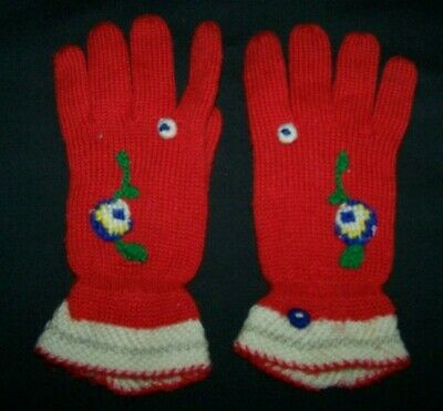 Vintage Knitted Wool Red Girls Gloves-Winter
