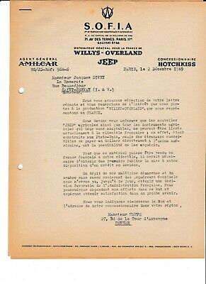 Lettre En Tete S.o.f.i.a. - Willys-Overland - Jeep - 1949