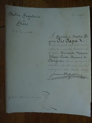 1906 Saint Pope Pius X document signed by Benedict XV as cardinal della Chiesa