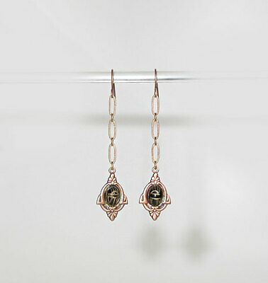 ~Dainty Victorian Style Carved Onyx Scarab &`Copper Drop Earrings!~~