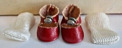 Original GINNY SHOES-Red, Center Snap, Made of Oil Cloth w/ Socks