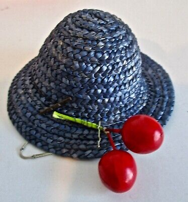 Original GINNY Blue Straw Hat w/ Cherries