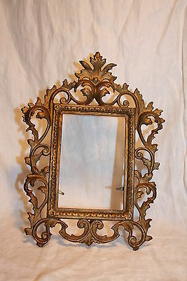Victorian Cast Iron Repousse Stand up Frame Acanthus Leaf ORNATE ! Gold Gilded