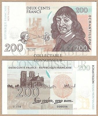 France 200 Francs 2015 UNC SpecimenTest Note Banknote Rene Descartes Philosopher