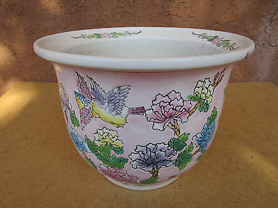 Vintage Made In China Ceramic Pink & White Floral Flower Pot Ganden Planter