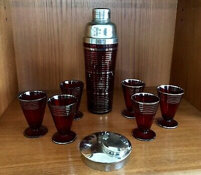 Ruby Glass Red Silver Overlay Striped Cocktail Shaker Set Art Deco Vintage 30's