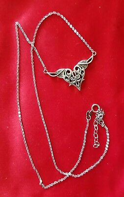 """Pretty Scroll Heart W/Wing Sterling Silver One Piece Adjustable 18-21"""" Necklace"""