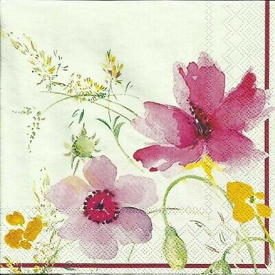 4x Pastel Pink Flowers Napkins Serviettes Craft Supplies Mix Media Paper Napkin